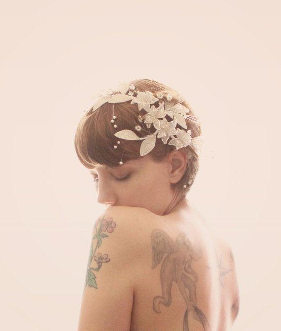 Accessoire de cheveux de mariée Vintage, embellissement de perles fil, pince à cheveux mariée, approvisionnement nuptiale des années 1980 ou 90