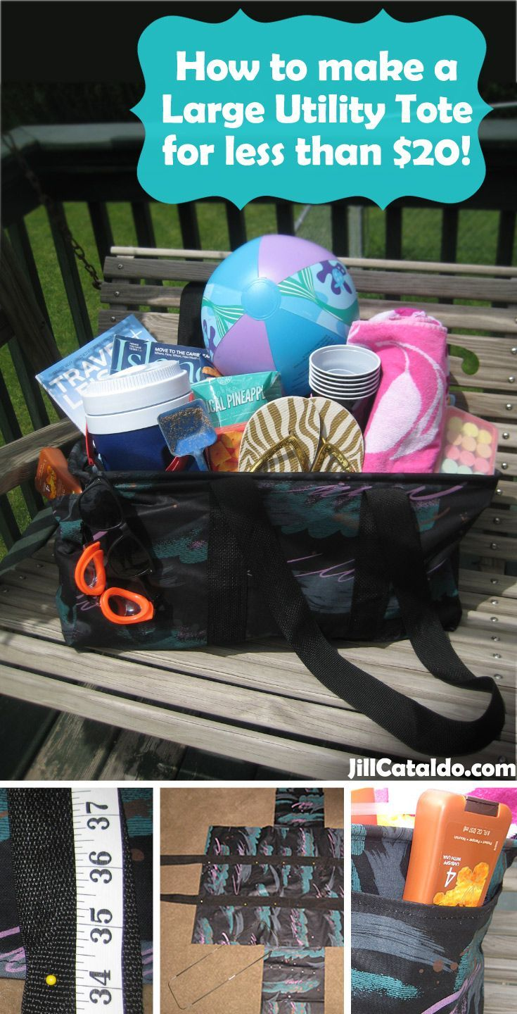 How to make a Large Utility Tote for less than $20! I see these great totes everywhere (especially at the pool.)