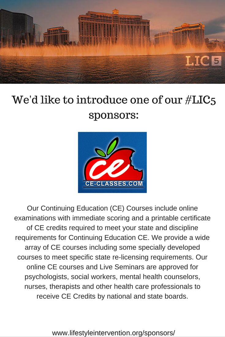 Our Continuing Education (CE) Courses include online examinations with immediate scoring and a printable certificate of CE credits required to meet your state and discipline requirements for Continuing Education CE. We provide a wide array of CE courses including some specially developed courses to meet specific state re-licensing requirements. Our online CE courses and Live Seminars are approved for psychologists, social workers, mental health counselors, nurses, therapists and...