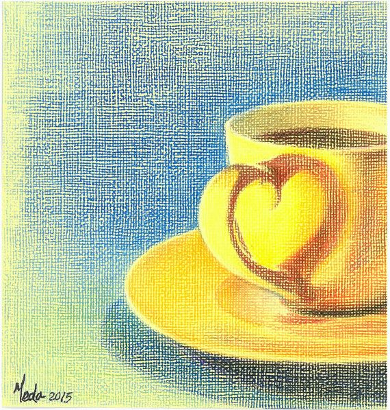 Tea Time - Romantic Cup of Tea - Original Colour Pencil Painting - Beautiful Wall Art - Valentine's day or Friendship's day Gift