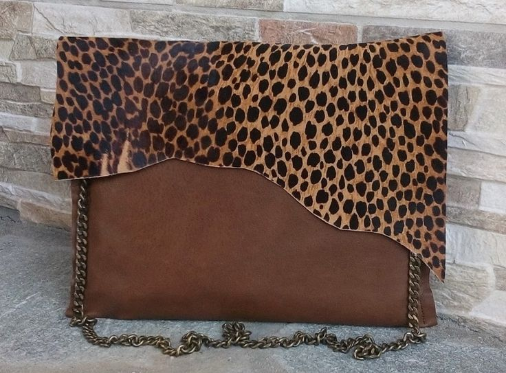 Leopard Print Brown Leather Bag, Leopard Print Brown Leather Clutch, Animal Print Brown Leather Clutch, Safari Look Brown Leather Bag