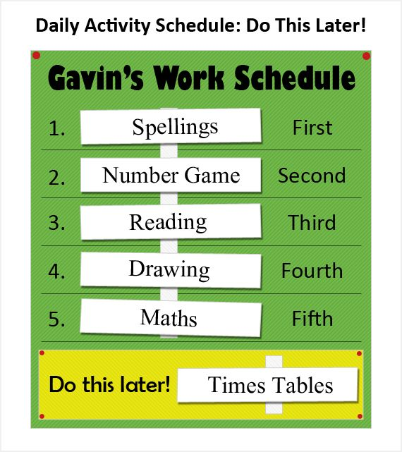 Daily schedule with a do this later optional space.