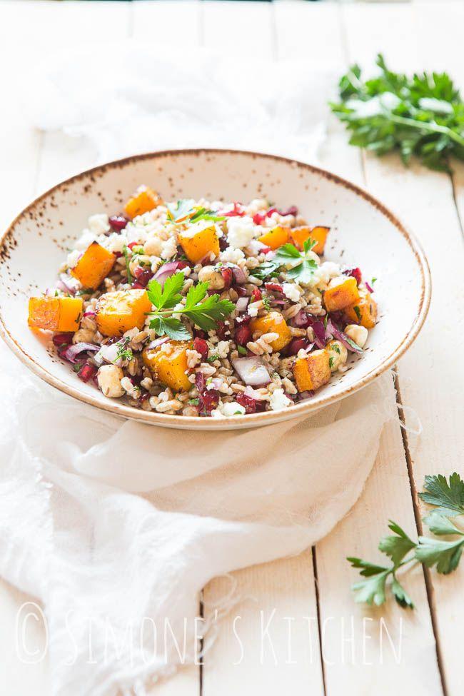 Spelt salad with pumpkin, feta and pomegranate | Simone's Kitchen
