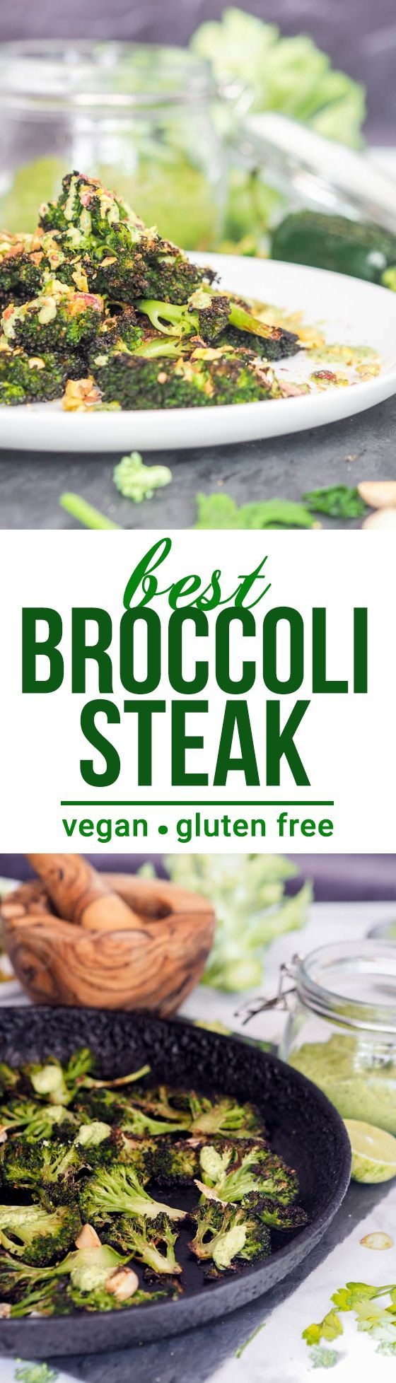 I know you�re going to love these broccoli steaks with cilantro jalapeno pistachio pesto. It�s always better to be incorporating more veggies into your diet and this is an excellent way to sneak some more in while making sure they really shine on your pla