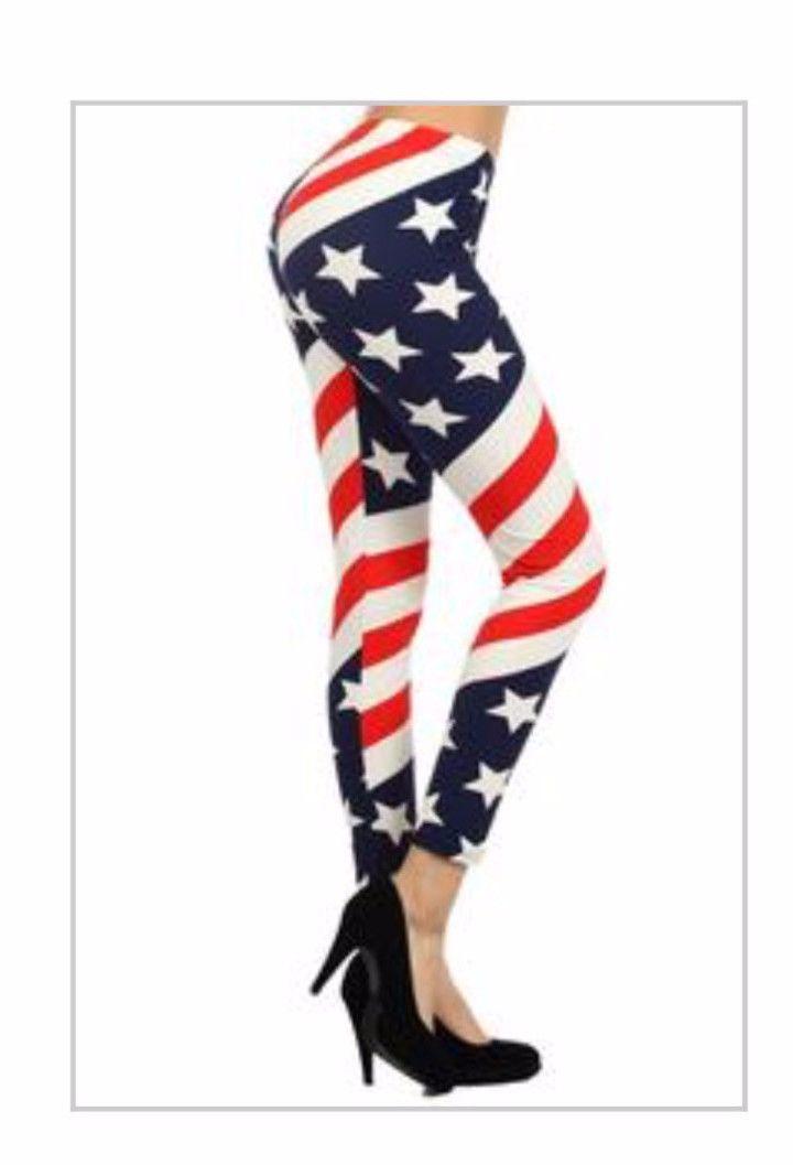 Ladies Full Length Leggings AMERICAN FLAG STARS STRIPES. Red, White, Blue. OS/PLUS