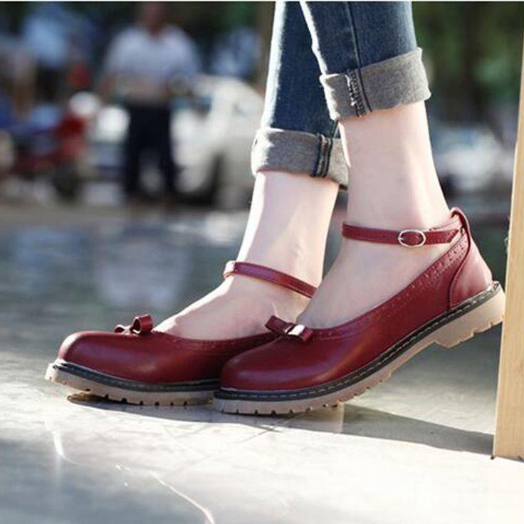 Retro Harajuku Mori Niña grande muñeca Punta redonda zapatos Universidad Lolita Uniforme Escolar Uwabaki Mary Janes Zapatos de Cosplay zapatos Planos Plana en Pisos de las mujeres de Zapatos en AliExpress.com | Alibaba Group