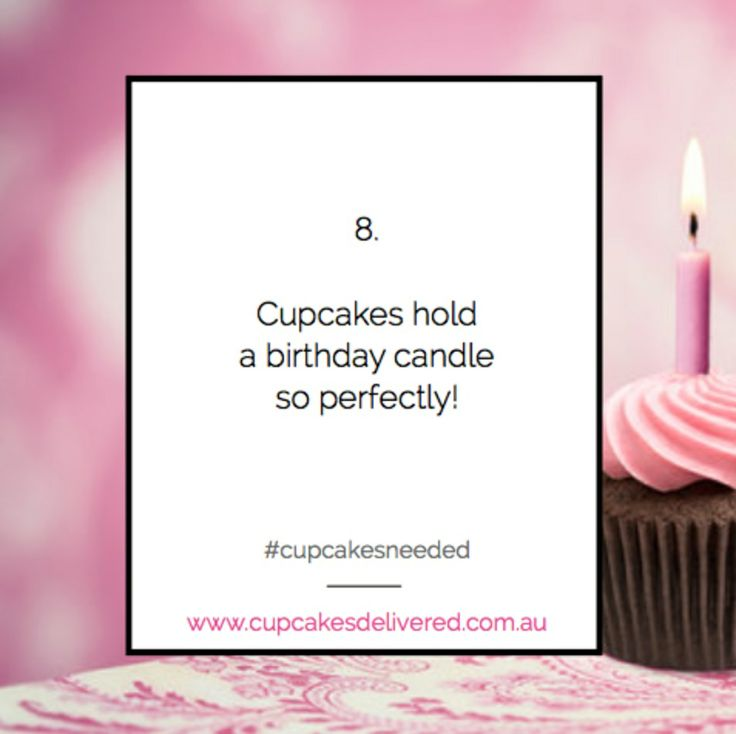 Reason # 8: Cupcakes hold a birthday candle so perfectly! Share your most creative reason to order a box of cupcakes here for your chance to WIN a box of Cupcakes Delivered to your doorstep! #cupcakesneeded #birthday #candle #cake #birthdaycake www.cupcakesdelivered.com.au