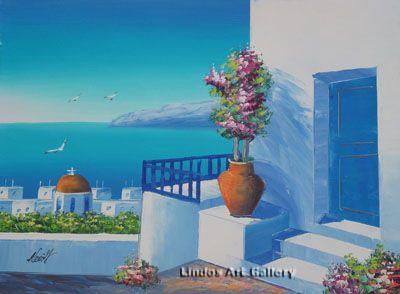 Santorini Courtyard Stairs Oil Painting