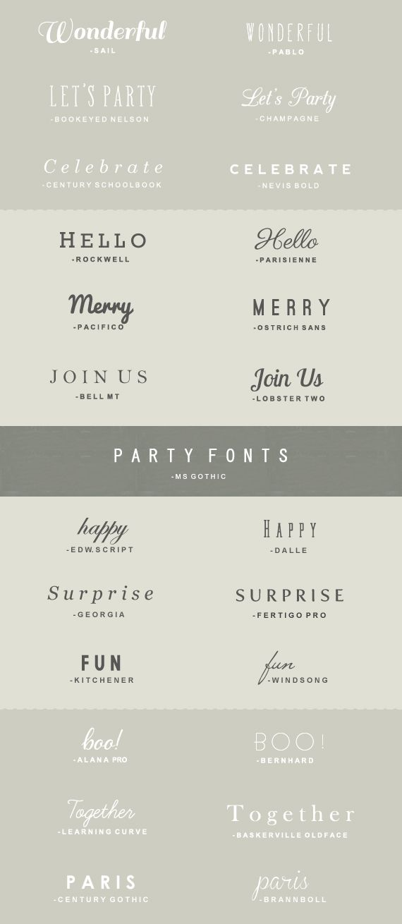 25 Fonts to Use for Parties