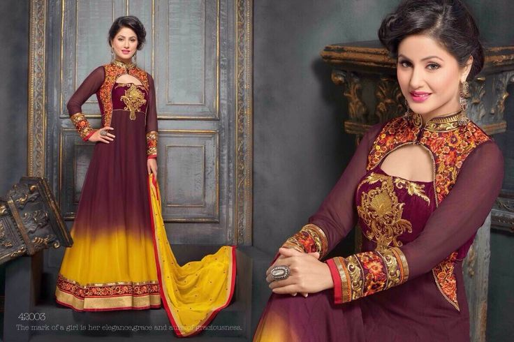 2249,- Heena Khan Exclusive Party Wear Anarkali Suits HZ 42003-Clothing-Fab4Fashion