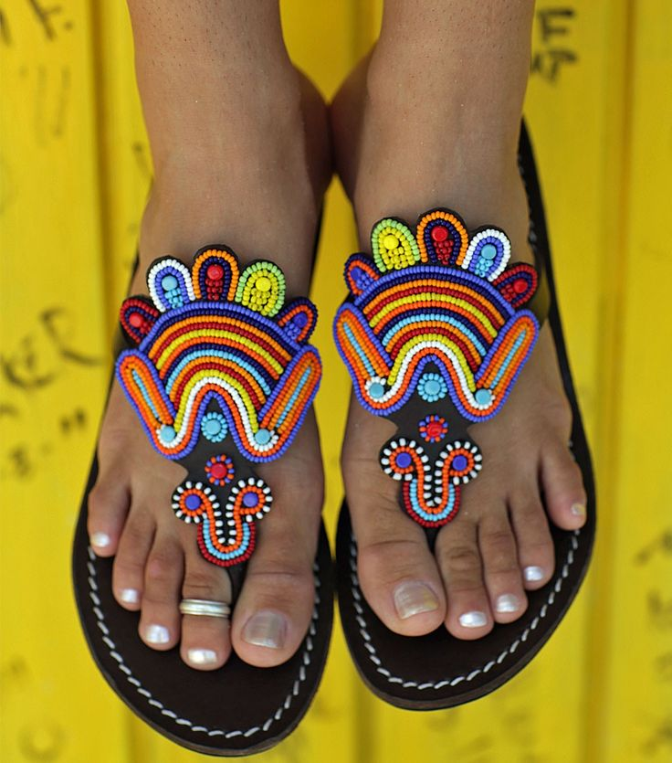 INSPIRATION ~ Embellish sandals with freeform crochet {Aspiga   Amy Multi Leather Beaded Sandals by Aspiga}