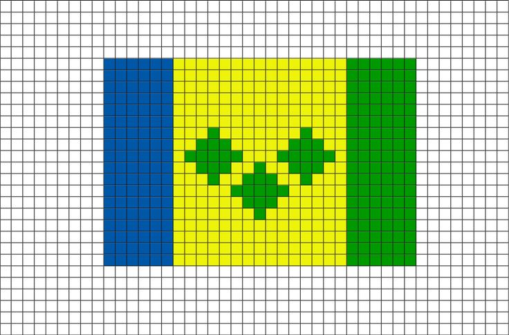 Flag Of St Vincent The Grenadines Pixel Art