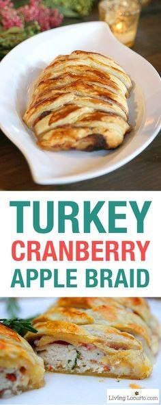 Turkey Cranberry App Turkey Cranberry Apple Baked Brie Braid....  Turkey Cranberry App Turkey Cranberry Apple Baked Brie Braid. This easy savory braided puff pastry turkey dish is like taking a bite of Thanksgiving! A great family dinner recipe or holiday party appetizer anytime of the year. LivingLocurto.com Recipe : http://ift.tt/1hGiZgA And @ItsNutella  http://ift.tt/2v8iUYW