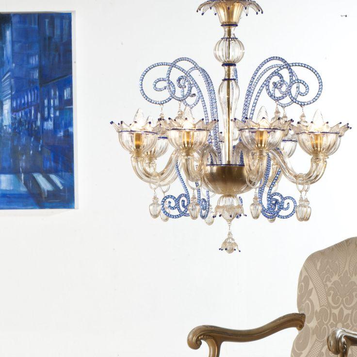 Renier Amber Blue #yourmurano #muranoglass #chandeliers