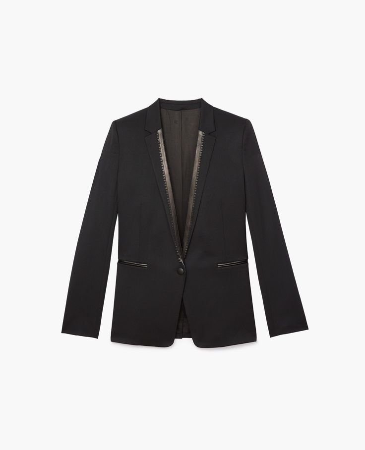THE KOOPLES Blazers - Suit jacket with lacy leather collar