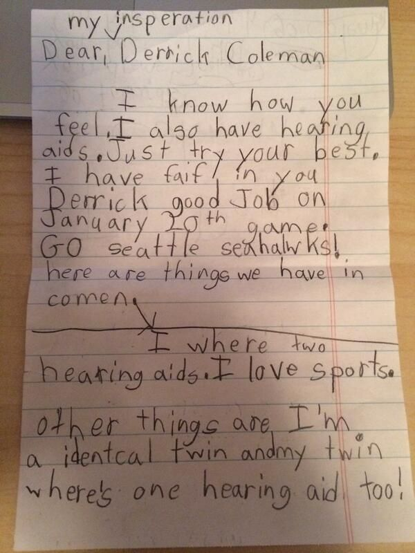 Hearing-Impaired Little Girl Writes Touching Letter to Seahawks' Derrick Coleman