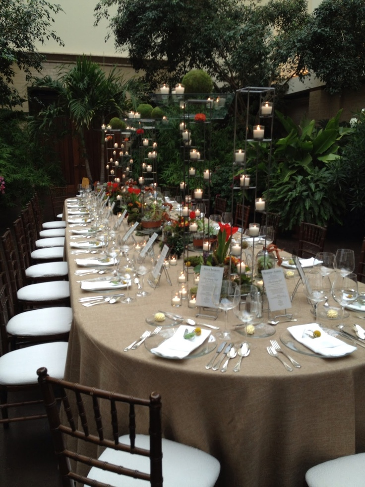 Candles - love the variety of height - great way to add interest to a table design without blocking people from seeing each other