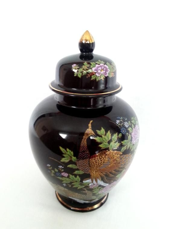 Vintage Black Ceramic Porcelain Hand Painted Peacocks Flowers Gold Gild Lidded Ginger Jar Vase Small Urn Japanese Asian Home D Small Urns Ginger Jars Porcelain