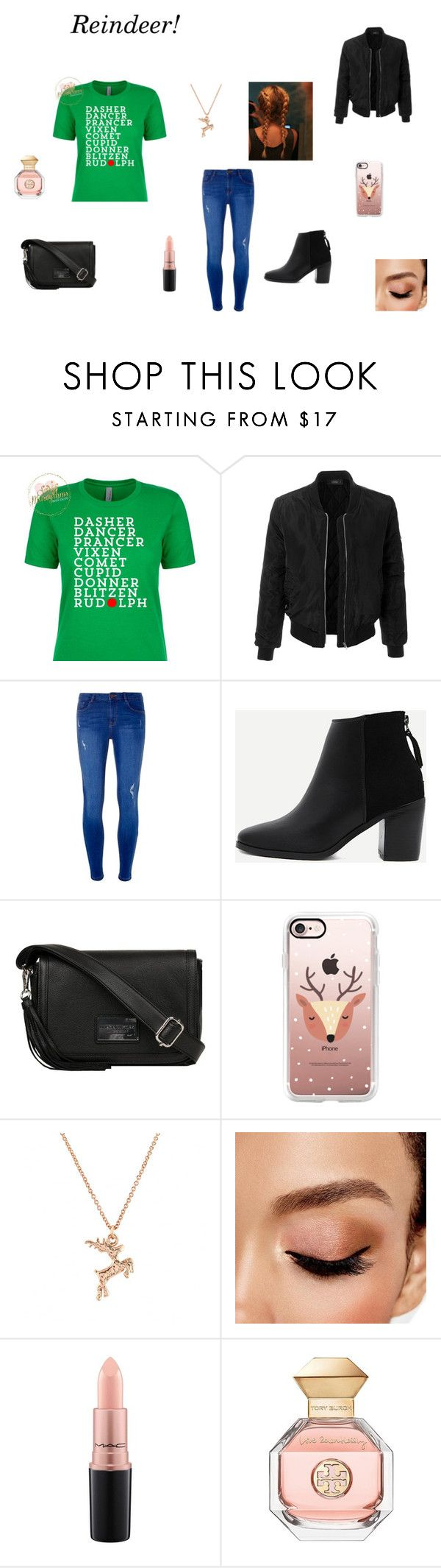 """""""Reindeer!"""" by lizzie-raye ❤ liked on Polyvore featuring LE3NO, Dorothy Perkins, WithChic, Andrew Marc, Casetify, Johnny Loves Rosie, Avon, MAC Cosmetics and Tory Burch"""