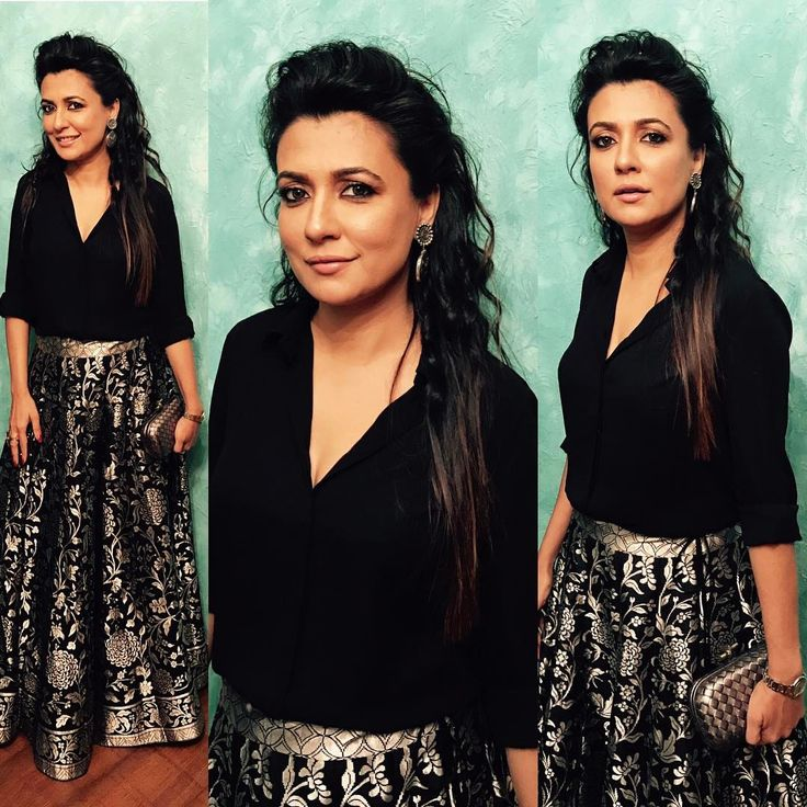 "Mini Mathur (@minimathur) on Instagram: ""All set for the #htmoststylishawards dressed in a handwoven parsi gara skirt by @ekayabanaras !…"""