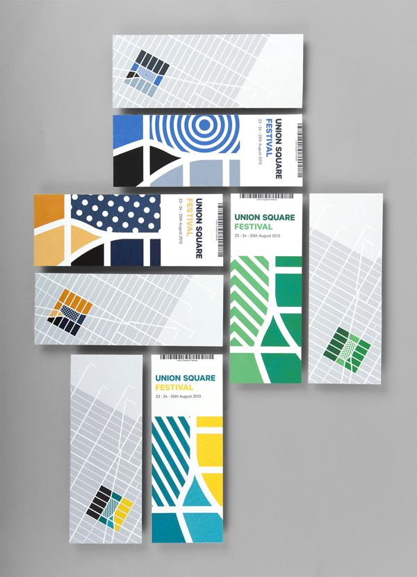 wall mounted rectangular pieces ... graphic art ... festival advertising ...  Union Square by Thorbjørn Gudnason, via Behance ... luv the pattern made by the pairs of rectangles ...