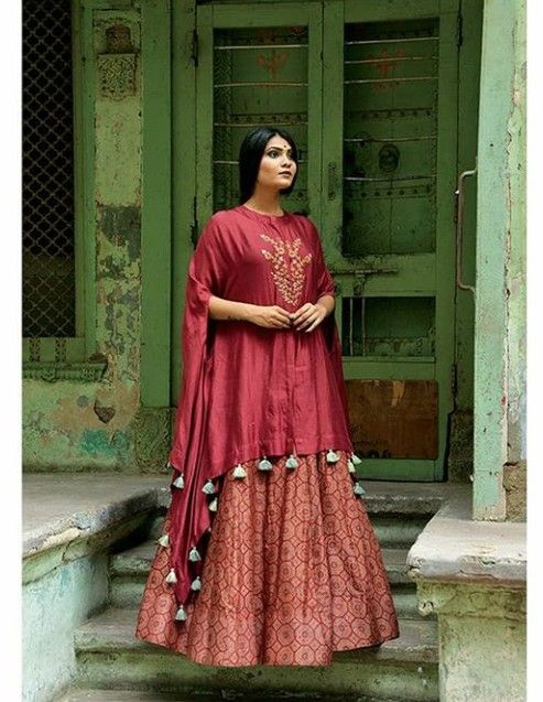 0f2dd72dcac Shop online Bridal Lehenga from USA. New Arrival Lehengas. Ajrakh Lehenga  with loose fit silk cape with beautiful embellishments.