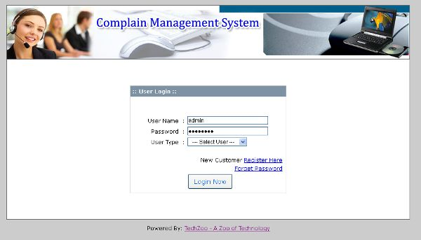 Online Complain Management System : PHP Project | TechZoo - Technology Blog