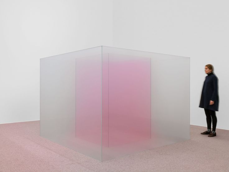 Venice Fog: Recent Investigations is an installation involving a series of cube-like sculptures made from semi-transparent and soft-hued glass.