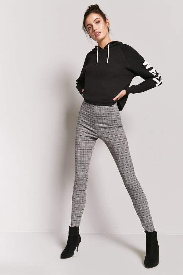 1bb2faabea55 Forever 21 Glen Plaid High-Rise Pants | Beauty Snap | Plaid jeans ...