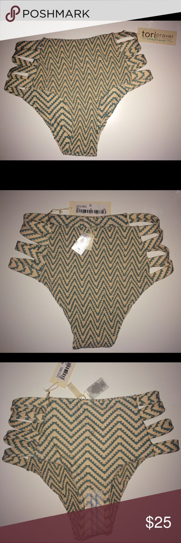 TORI PRAVER SEAFOAM HIGH WAIST BIKINI BOTTOM High-waisted bikini bottom by Tori Praver, part of Seafoam line. Size medium. Tori Praver Swimwear Swim Bikinis