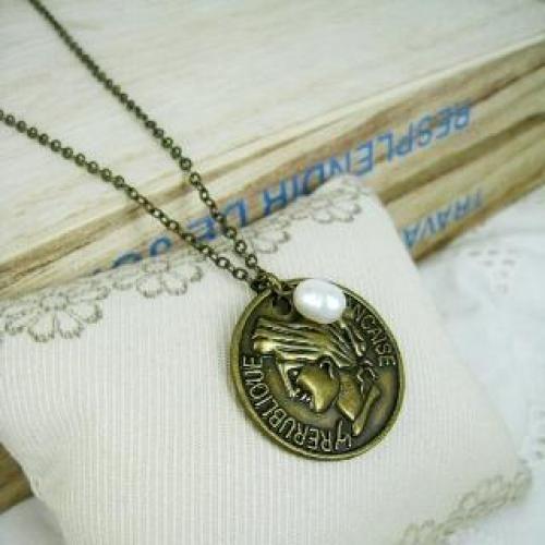 Copper Vintage Coin Short Necklace