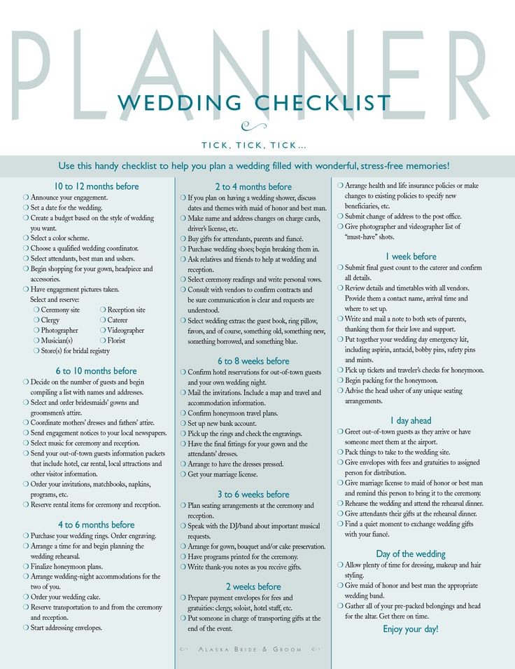wedding plan check list