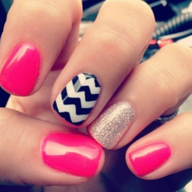 These are chevron nails with a little add of pink and a dash of glitter and sparkle! Cute and fun design for your nails!
