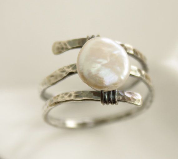 Sterling silver ring in spiral with wrapped coin shape white pearl