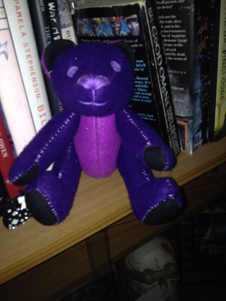 Wonky - felt hand stitched teddy bear Purple  Button joint