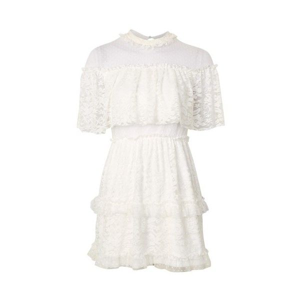 Topshop Lace Cape Skater Dress ($58) ❤ liked on Polyvore featuring dresses, ivory, ivory lace dress, white skater dress, ivory dress, topshop dresses and funnel neck dress