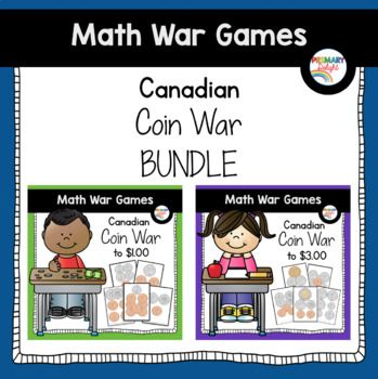"""The Canadian Coin War games will help students practice counting Canadian money in an engaging way. Students will count and compare coins with this game - they won't even know they are practicing! Coin War a twist on the traditional card game """"War."""" Instead of comparing numbers, players count the coins on their"""
