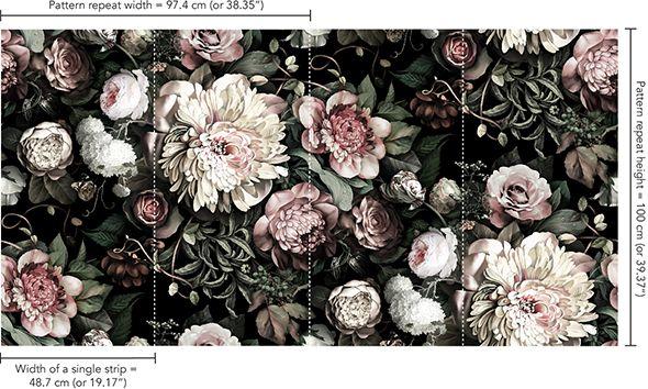 Dark Floral II Black Saturated Wallpaper - by Ellie Cashman Design