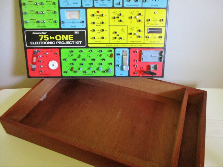 Wood Tray File Craft Storage BIN, Wooden Frame with Dove Tailed Corners, Science Fair 75 in ONE Electronic Project Kit, Fun WALL Display by chloeswirl on Etsy