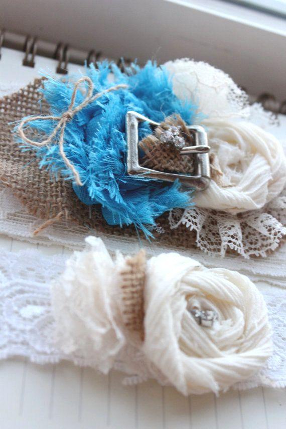 Something BLUE for your Rustic Wedding!  Burlap Buckle Garter Set, Bridal shower gift - Western Wedding Country Bridal Accessory