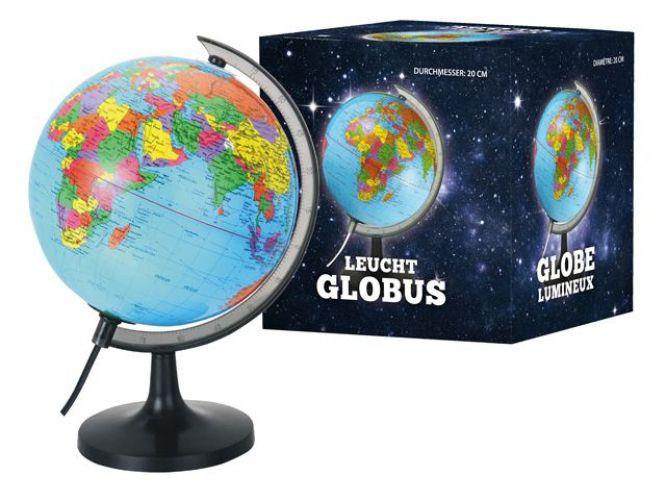 Wereldbol met verlichting 20 cm. Wereldbol met gedetailleerde Nederlandstalige topografische, indeling met alle landen en belangrijke steden. Afmeting 20 cm. Werkt op 220V.