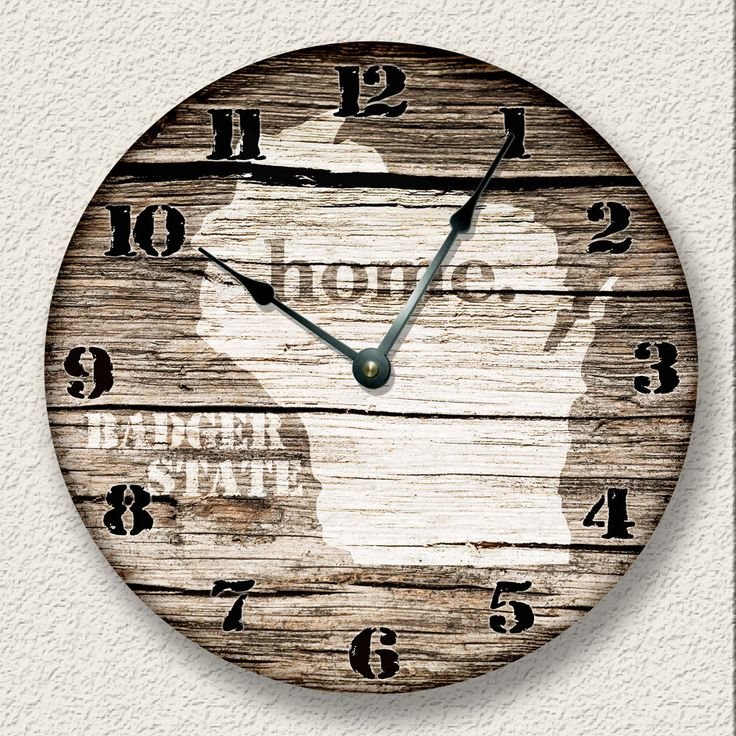 WISCONSIN Home State Wall CLOCK  - Barn Boards pattern  - Badger State - rustic cabin country wall home decor by FancyThisBaby on Etsy https://www.etsy.com/listing/222736244/wisconsin-home-state-wall-clock-barn