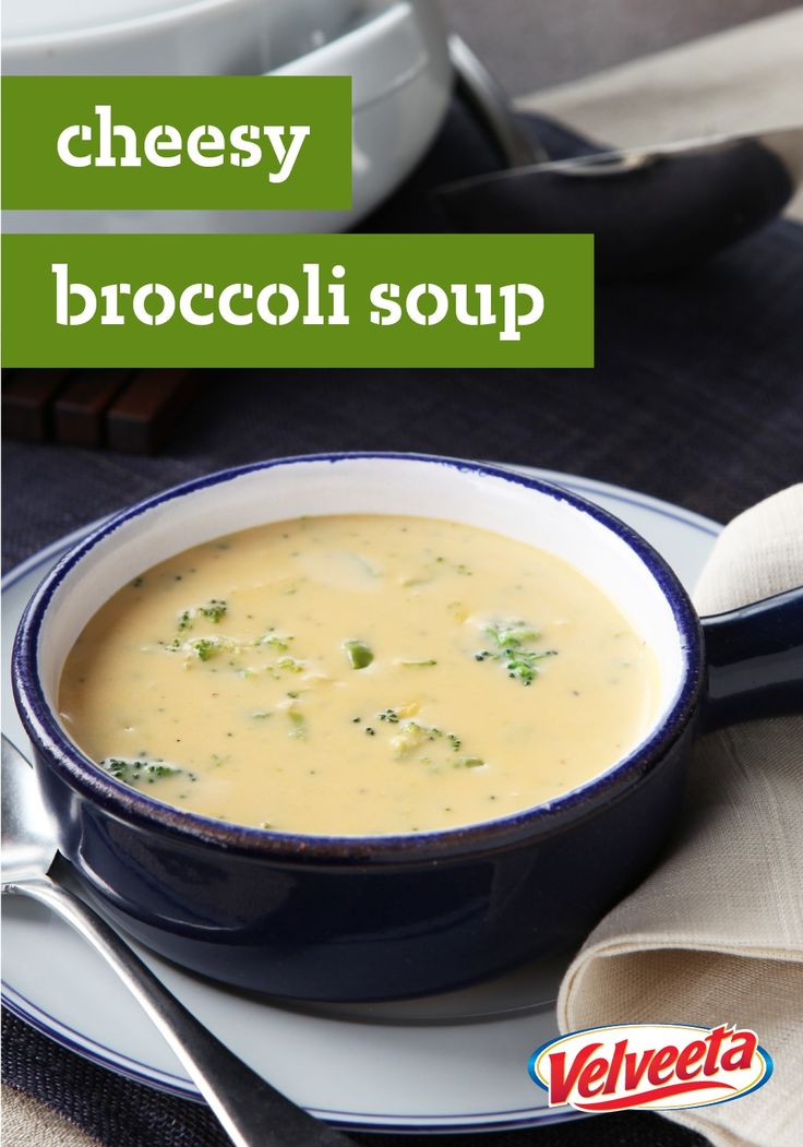 VELVEETA Cheesy Broccoli Soup – Pinch yourself. You're not dreaming. This thick, easy, creamy broccoli Cheddar soup that's ready in less than 30 minutes is the real deal.