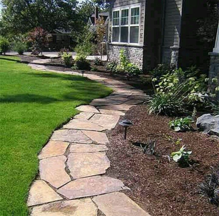 Flat Stone Edging: Flagstone Pathway For Flowerbed Edging