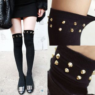 Rivets punk stockings tights $15.00 http://sweetbox.storenvy.com/products/3985279-rivets-punk-stockings-tights
