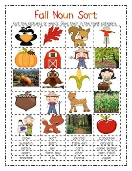 Help your student remember four categories of nouns, person, place, animal, and thing all created in a fun fall and Halloween theme.