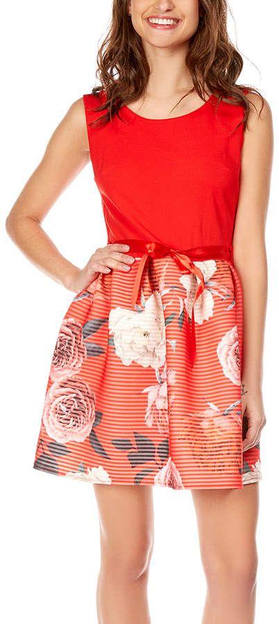 Red Floral Sleeveless Skater Dress - Women  4cc0af9b4a
