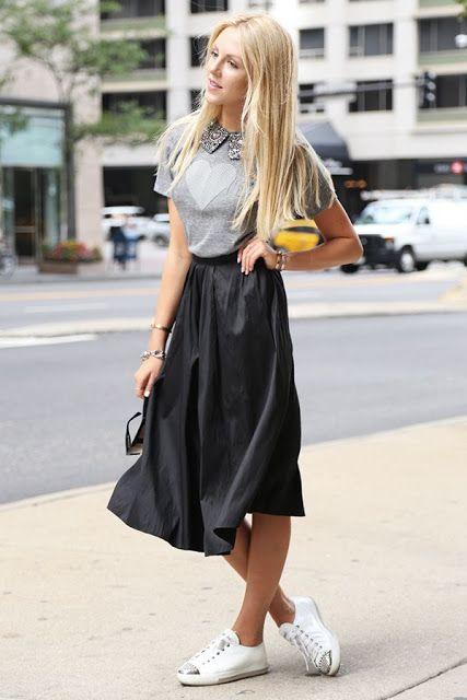 Pra inspirar: looks com tênis branco | Saias da moda, Ideias fashion, Minissaias