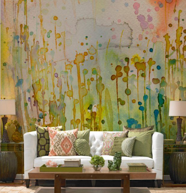Fototapeta w salonieDecor, Ideas, Wall Murals, Living Room, Interiors Design, Painting Wall, Watercolors Wall, Wall Design, Accent Wall
