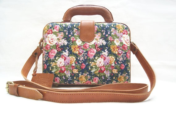 Brown Box Purse Leather Bag Flower Handbag by CoruscateLeatherBag, $102.00